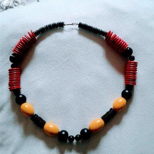 multi color stacked chunky wood bead necklace